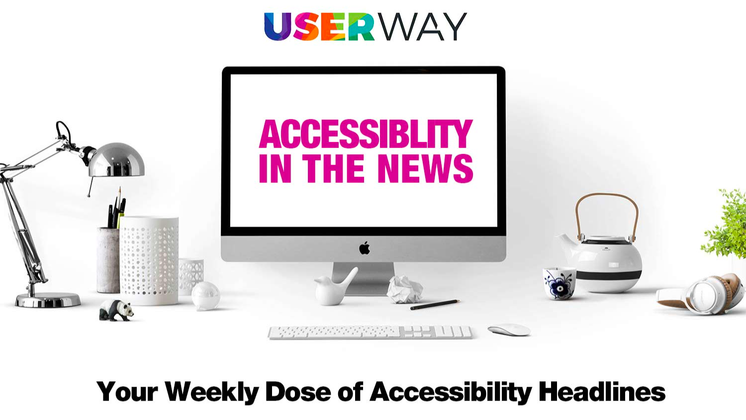 Computer screen with accessibility in the news written on it